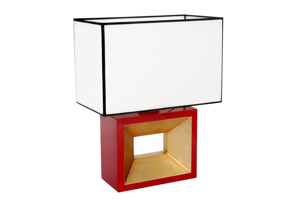 Design lampe de table verni rouge or noir argent luminaire lampe ebay - Lampe de chevet noir et argent ...