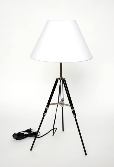 design stativlampe tripod dreibein stativ lampe leuchte stoffschirm spot leuchte ebay. Black Bedroom Furniture Sets. Home Design Ideas