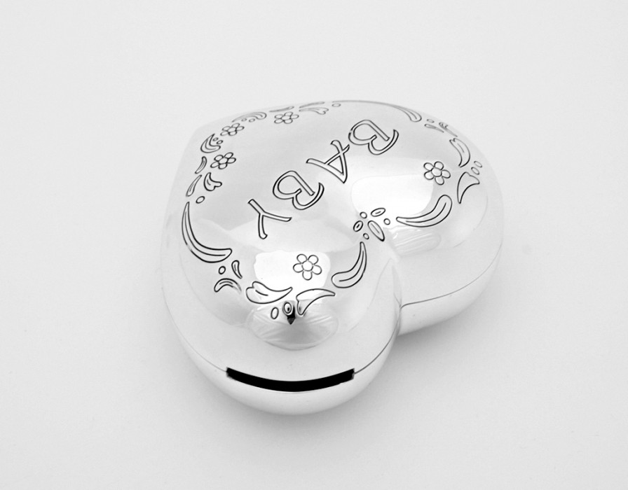 Piggy bank heart baby silver plated christening present gift engraving birth ebay - Engraved silver piggy bank ...