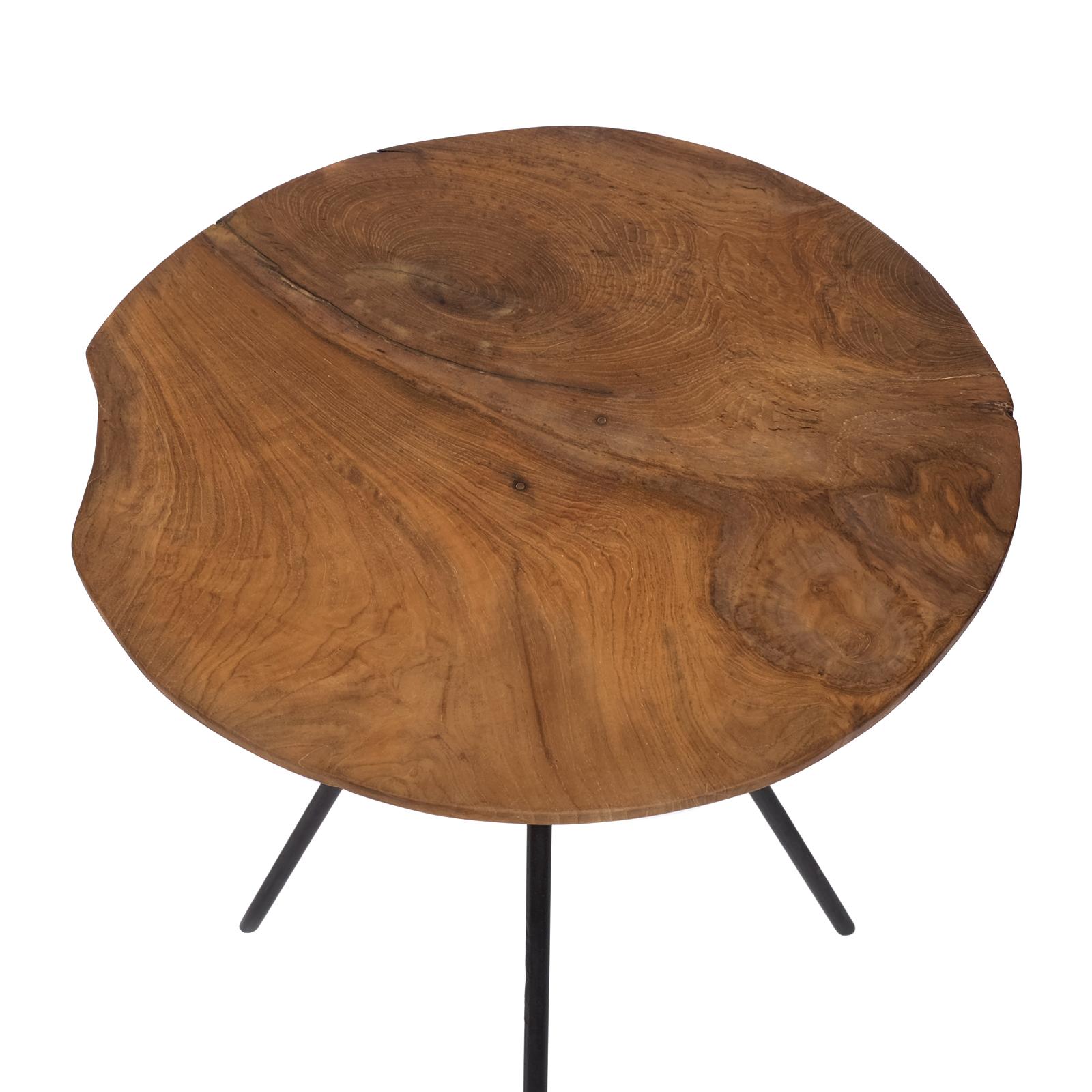 design beistelltisch couchtisch tisch teakholz eisen holz teak rund braun metall ebay. Black Bedroom Furniture Sets. Home Design Ideas