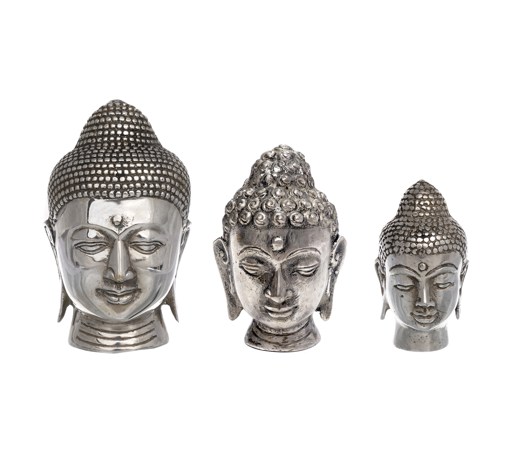 thai buddha kopf figur feng shui skulptur silber vintage. Black Bedroom Furniture Sets. Home Design Ideas