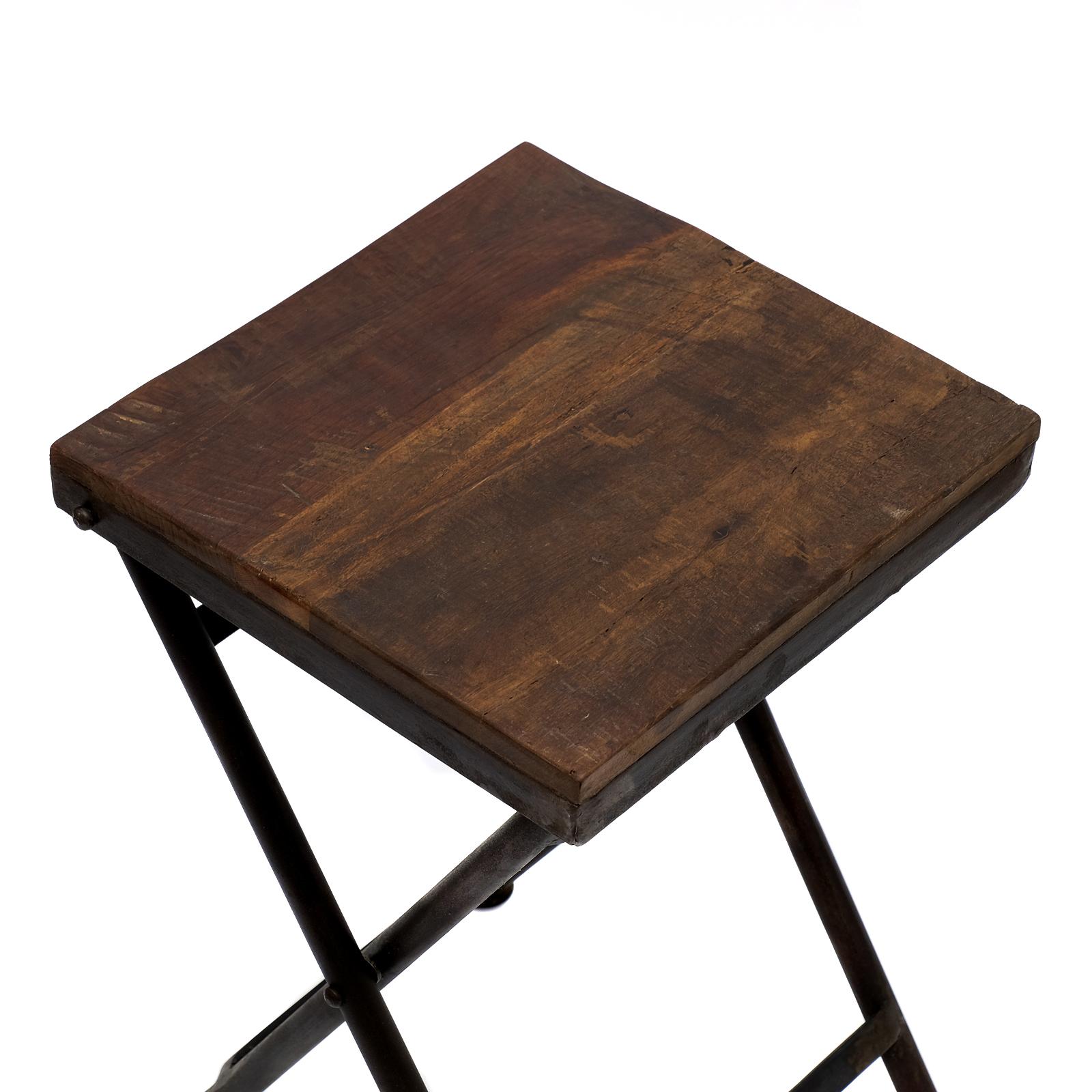 klapptisch beistelltisch hocker holz eisen massiv. Black Bedroom Furniture Sets. Home Design Ideas