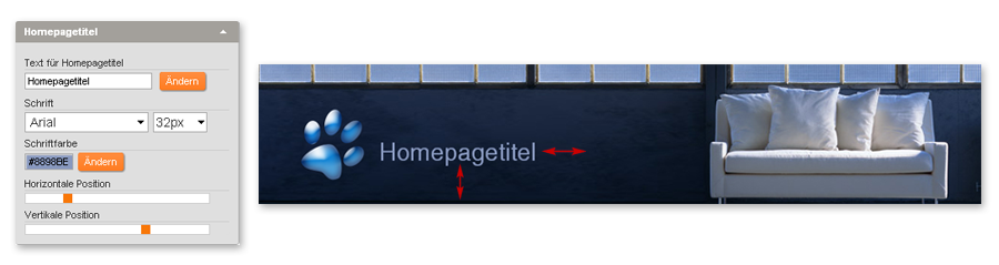 Homepagetitel und Logo in Headergrafik