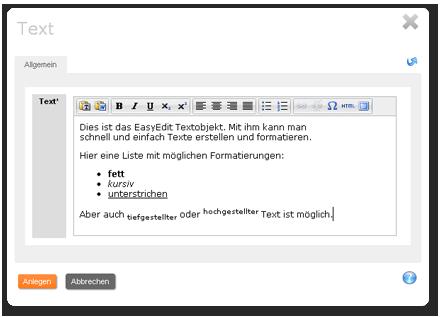 Easy-Edit Texteditor